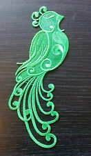 green embroidery Peacock patch lace applique irish dance dress costume