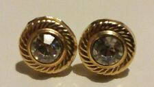 9ct 375 Yellow Gold Round 8mm Glitzy Sparkle Stone Earrings/Studs with Gift Box*