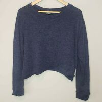Agnes & Dora Sweater Blue Pullover Cropped  XL Long Sleeve Top Scoop Neck