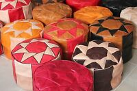 GENUINE LEATHER MOROCCAN POUF POUFFE, HANDMADE OTTOMAN FOOTSTOOL