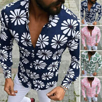 INCERUN Men's Vintage Floral Printed Long Sleeve T-Shirt Casual Slim Shirt Tops
