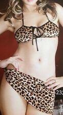 New Leopard Print Bra, Thong & Skirt Set UK 8 Sexy Animal Print Sexy Ladies Set