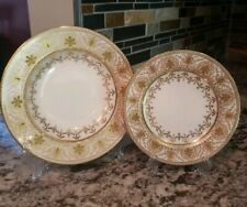 Wedgwood 19th Century Raised Gold Rim Soup Bowl & Bread Butter Plate EXCELLENT