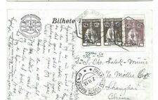 Portugal ANGOLA CERES stamped postcard to Shanghai with Poste Russe August 1914