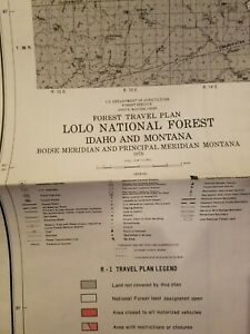 USDA National Forest Service Map travel plan idaho/ Montana 1976 TWO SIDED