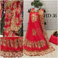 Embroidery designer Georgette saree indian blouse dress bollywood women sari