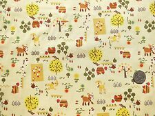 Nursery Farm fabric Beige 1 metre 100% Cotton NV5882