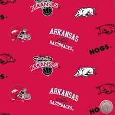 125466617- University of Arkansas Razorbacks Hogs Fleece Fabric NCAA By the Yard