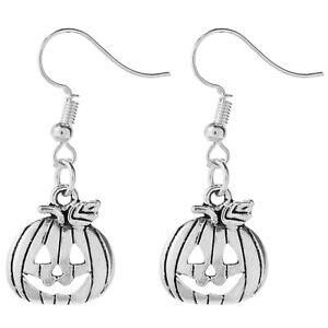 Pumpkin Earrings Halloween Tibetan Silver 1 Pair