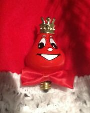 SPARKLE THE CHRISTMAS LIGHT BULB RED FACE GOLD CROWN BOW TIE VINTAGE ORNAMENT