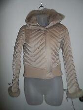bebe S Jacket 100% Rabbit Fur Down Feather Beige Collared Zipper Snowbunny Hood