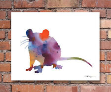 "Rat Abstract Watercolor 11"" x 14"" Art Print by Artist DJ Rogers"