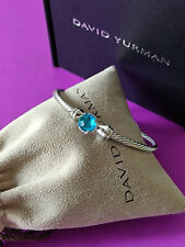 David Yurman Sterling Silver With Cable Blue Topaz Chatelaine Bracelet 3mm