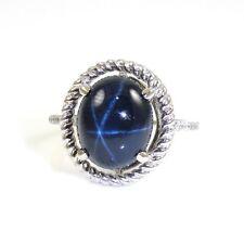 Ladies Natural Blue Star Sapphire Diamond Ring 7.39 TCW 14k White Gold (14379)