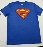New  Superman DC Comics T Shirt Blue Size Mens Large W/ Small S Logo Through Out