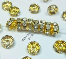 50 Glas Strass Rondell Spacer Metallperlen 6mm BEST GOLD KLAR CRYSTAL R172C