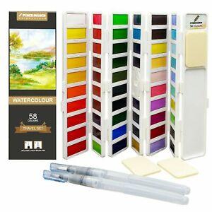 Foldable Watercolour Paint Set 58 Colour 2 Aqua Brush 3 Sponges PENCILMARCH (20)