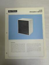 Original Vintage Altec Model 614D Speaker Cabinet Specification Sheet (A3)