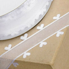 RIBBON WHITE ORGANZA WITH HEART EDGING 25mm x 25M CRAFTS CAKE WEDDING FLOWERS