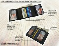 AG Wallets Mens Leather Bifold Slim Wallet Multi Card Cash And ID Holder Black