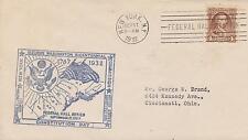 1932 GEORGE WASHINGTON BICENTENNIAL FEDERAL HALL CACHET/CANCEL CONSTITUTION DA2