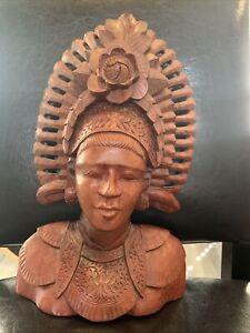 vintage carved wood bust