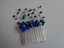 Dark blue silver glass pearl crystal flower hair comb spray wedding bridal prom