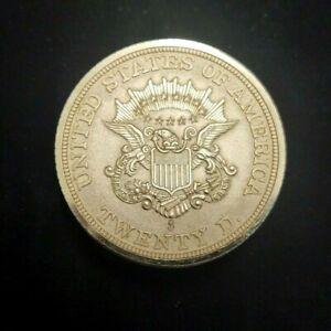 "VINTAGE SEIKO UNITED STATES OF AMERICA TWENTY DOLLAR GOLD COIN DESK CLOCK 2 7/8"""