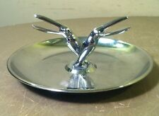 TOUCAN BIRD Vintage HAMILTON Chrome PINCHERETTE Match Holder ART DECO Ashtray