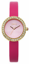 Oasis B1454 Women's Quartz Watch Pink Dial Analogue Display and Pink PU Strap