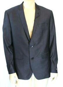 Bar III Men's Two Button Charcoal Herringbone Slim Fit Jacket Size 42R