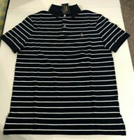 Men's SZ L Ralph Lauren Iconic Mesh Striped Polo Shirt Classic FIT Navy White