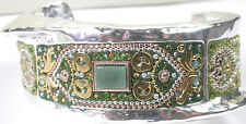 CUFF Designer Bracelet Two Tone with Aventurine & Crystals Sterling Silver