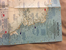 Antarctica Wall Map Vintage 1963 National Geographic Polar South Pole (318
