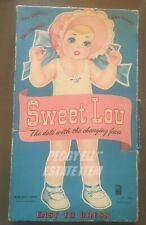 "1949 MILTON BRADLEY ""SWEET LOU"" THE CHANGING FACE PAPER DOLL SET # 4924 16"" TALL"