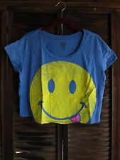 Smiley Face Frown Face Emoticon Women's Athletic Casual Short Sleeve Crop Top M