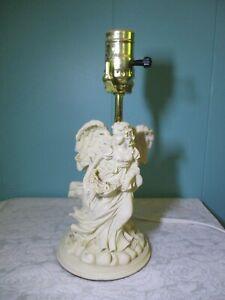 "Vintage White Resin Angel Lamp 11"" Tall - No Shade"