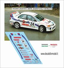 DECALS 1/43 MITSUBISHI LANCER EVO 5 MARTINI MUNARETTO RALLY 1000 MIGLIA 1999