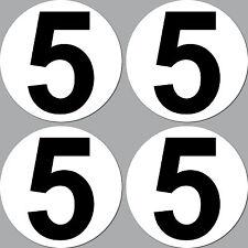 4 Aufkleber Startnummer 5 rund 10cm Racing Motorrad Motocross Auto Nummerierung