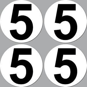 4 Aufkleber 10cm Start Nummer 5 Ziffer Zahl Auto Motorrad Rennsport Kart Gokart