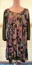 LILIA Plus Size 16/18 XL Women's Blouse Top Shirt 3/4 Sleeve Lined Green Floral