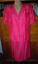 LESLIE FAY BEAUTIFULLY TAILORED DEEP PINK DRESSY SKIRTED SUIT, SZ 18, FLAWLESS!