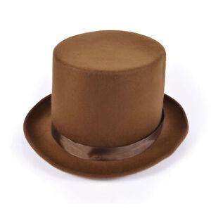 Adults Brown Wool Felt Top Hat Willy Wonka Fancy Dress Accessory Victorian New