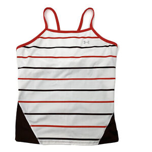 Under Armour Womens Size XL White Red Striped Shelf Bra Athletic Tank Top