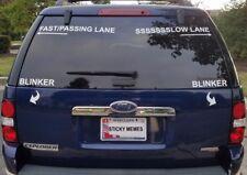LEARN HOW TO DRIVE FAST/SLOW LANE BLINKER DECAL STICKER SET WINDOW CAR SUV TRUCK