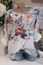 NUEVO Extra Grande Camiseta Túnica Vintage Flores lurex-kanten BLANCO-GRIS Batik