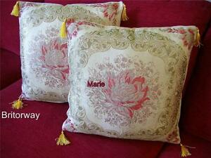 CUSHION Abusson Embroidered Silken Threads Bound with Gold and Tassels + INSERT