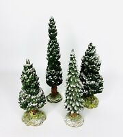Dept 56 Landscape Snowy Evergreen Pine Trees Snow Flocked Lot Of 4