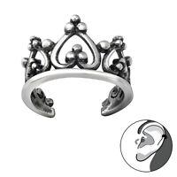 925 Sterling Silver Crown Design Ear Cuff (Design 2)