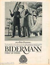 PUBLICITE ADVERTISING 105  1967  les manteaux homme BIDERMAN en laine WOOLMARK